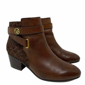 Coach Page Logo Embossed Brown Leather Booties 7 B